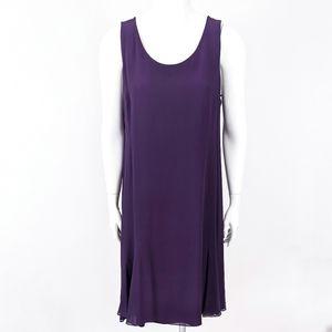 Eileen Fisher 100% Silk Sleeveless Trapeze Dress L Purple Chiffon
